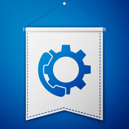Blue Telephone 24 hours support icon isolated on blue background. All-day customer support call-center. Full time call services. White pennant template. Vector Illustration Vetores