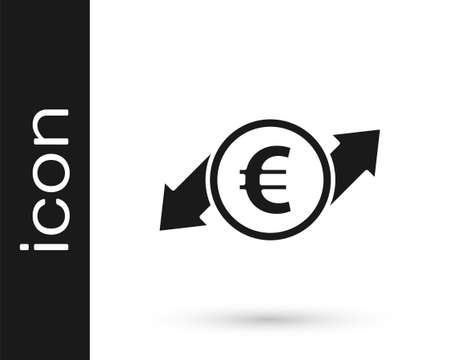 Grey Financial growth and euro coin icon isolated on white background. Increasing revenue. Vector Illustration