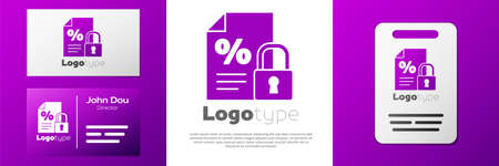 Logotype Finance document and lock icon isolated on white background. Paper bank document for invoice or bill concept.