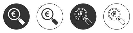 Black Magnifying glass and euro symbol icon isolated on white background. Find money. Looking for money. Circle button. Vector Illustration Ilustracja