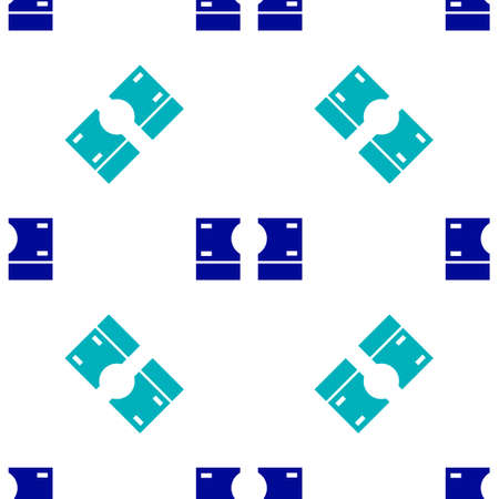 Blue Stacks paper money cash icon isolated seamless pattern on white background. Money banknotes stacks. Bill currency. Vector Illustration Ilustracja