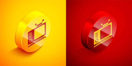 Isometric Retro tv icon isolated on orange and red background. Television sign. Circle button. Vector Illustration