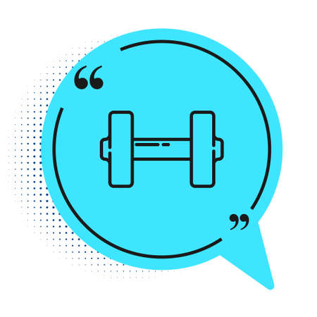 Black line Dumbbell icon isolated on white background. Muscle lifting icon, fitness barbell, gym, sports equipment, exercise bumbbell. Blue speech bubble symbol. Vector Illustration