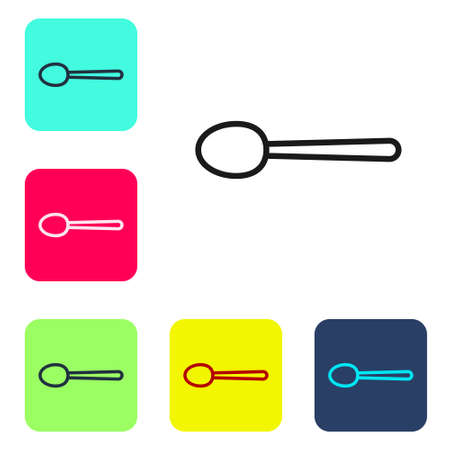 Black line Spoon icon isolated on white background. Cooking utensil. Cutlery sign. Set icons in color square buttons. Vector Illustration