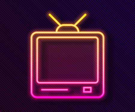 Glowing neon line Retro tv icon isolated on black background. Television sign. Vector Illustration