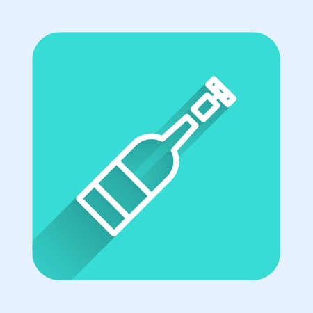 White line Opened bottle of wine icon isolated with long shadow. Green square button. Vector Illustration