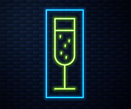 Glowing neon line Glass of champagne icon isolated on brick wall background. Vector Illustration
