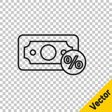 Black line Money percent icon isolated on transparent background. Percent loyalty wallet sign. Vector Illustration
