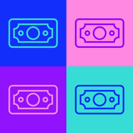Pop art line Stacks paper money cash icon isolated on color background. Money banknotes stacks. Bill currency. Vector Illustration