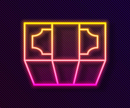 Glowing neon line Stacks paper money cash icon isolated on black background. Money banknotes stacks. Bill currency. Vector Illustration