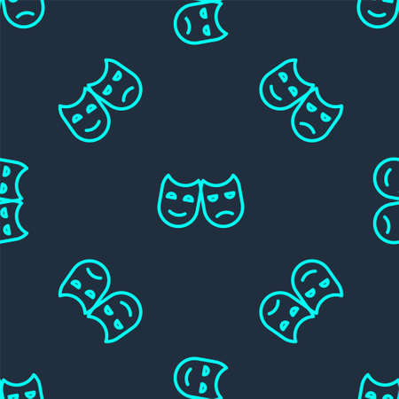 Green line Comedy and tragedy theatrical masks icon isolated seamless pattern on blue background. Vector Illustration 일러스트