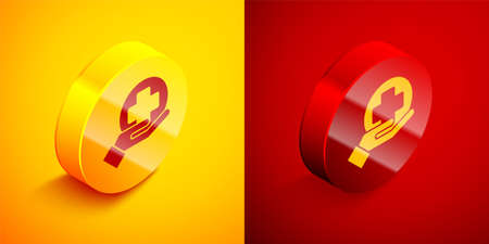 Isometric Cross hospital medical icon isolated on orange and red background. First aid. Diagnostics symbol. Medicine and pharmacy sign. Circle button. Vector Illustration Ilustracja