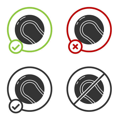 Black Baseball ball icon isolated on white background. Circle button. Vector Illustration