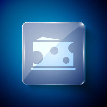 White Cheese icon isolated on blue background. Square glass panels. Vector Illustration Иллюстрация