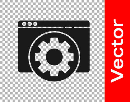 Black Browser setting icon isolated on transparent background. Adjusting, service, maintenance, repair, fixing. Vector Illustration