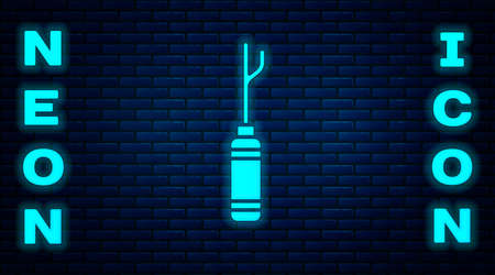 Glowing neon Awl tool with wooden handle icon isolated on brick wall background. Work equipment tailor industry. Vector Illustration