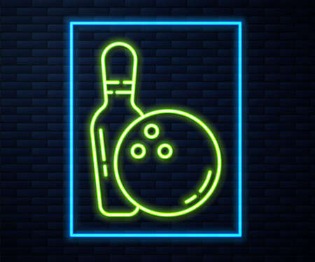 Glowing neon line Bowling pin and ball icon isolated on brick wall background. Sport equipment. Vector Illustration