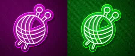 Glowing neon line Yarn ball with knitting needles icon isolated on purple and green background. Label for hand made, knitting or tailor shop. Vector Illustration