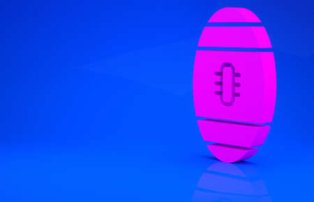 Pink American Football ball icon isolated on blue background. Rugby ball icon. Team sport game symbol. Minimalism concept. 3d illustration. 3D render