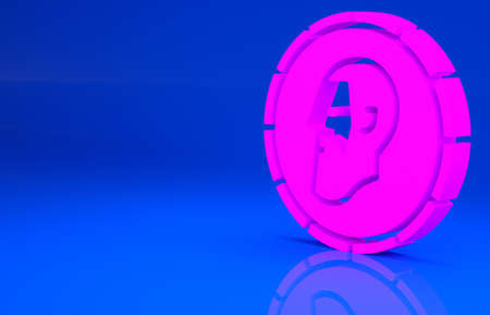 Pink Ancient coin icon isolated on blue background. Minimalism concept. 3d illustration. 3D render Archivio Fotografico