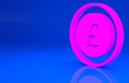 Pink Coin money with pound sterling symbol icon isolated on blue background. Banking currency sign. Cash symbol. Minimalism concept. 3d illustration. 3D render Stock Photo
