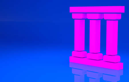 Pink Prison window icon isolated on blue background. Minimalism concept. 3d illustration. 3D render
