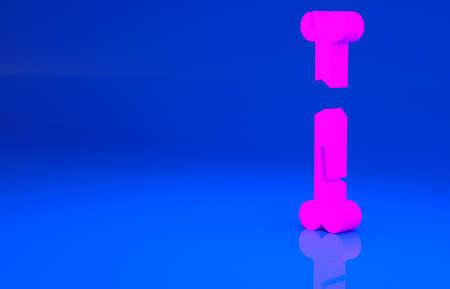Pink Human broken bone icon isolated on blue background. Minimalism concept. 3d illustration. 3D render