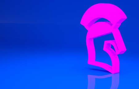 Pink Greek helmet icon isolated on blue background. Antiques helmet for head protection soldiers with a crest of feathers or horsehair. Minimalism concept. 3d illustration. 3D render