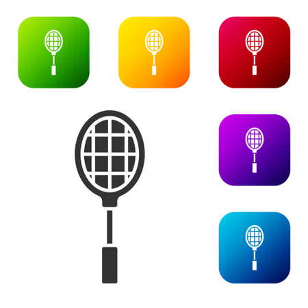 Black Tennis racket icon isolated on white background. Sport equipment. Set icons in color square buttons. Vector Illustration Illustration