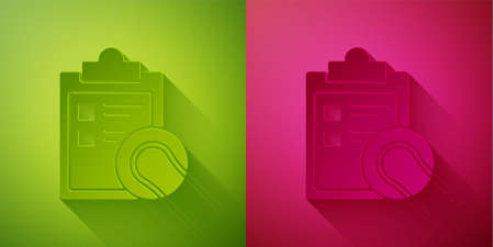 Paper cut Checklist clipboard and tennis ball icon isolated on green and pink background. Sport equipment. Paper art style. Vector Illustration