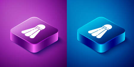 Isometric Badminton shuttlecock icon isolated on blue and purple background. Sport equipment. Square button. Vector Illustration