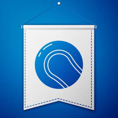 Blue Baseball ball icon isolated on blue background. White pennant template. Vector Illustration Illustration