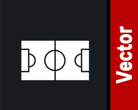White Football or soccer field icon isolated on black background. Vector Illustration