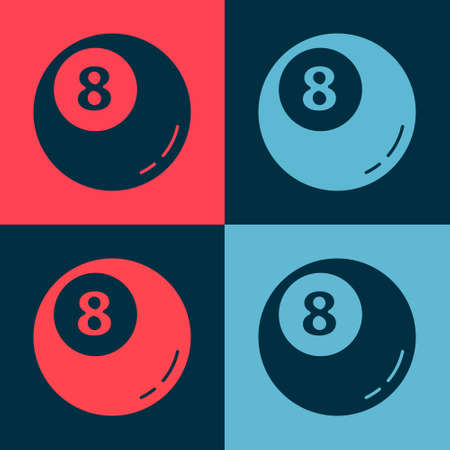 Pop art Billiard pool snooker ball icon isolated on color background. Vector Illustration