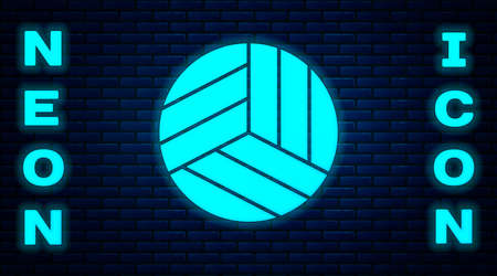Glowing neon Volleyball ball icon isolated on brick wall background. Sport equipment. Vector Illustration