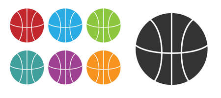 Black Basketball ball icon isolated on white background. Sport symbol. Set icons colorful. Vector Illustration