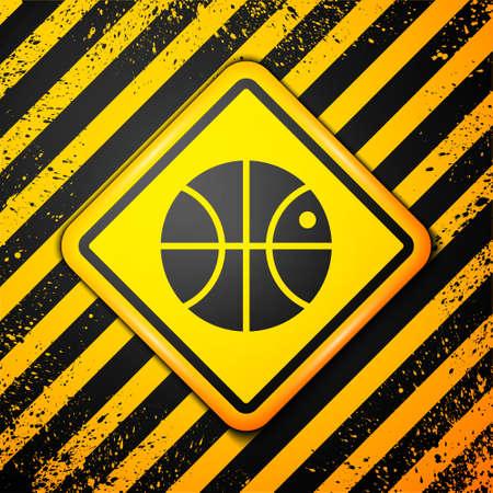Black Basketball ball icon isolated on yellow background. Sport symbol. Warning sign. Vector Illustration Illustration