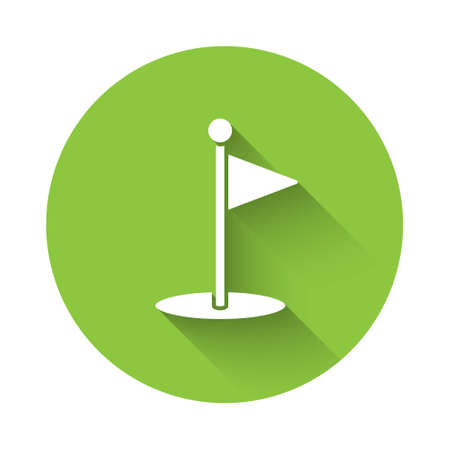 White Golf flag icon isolated with long shadow. Golf equipment or accessory. Green circle button. Vector Illustration Illustration