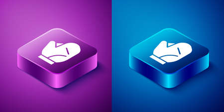 Isometric Baseball glove icon isolated on blue and purple background. Square button. Vector Illustration