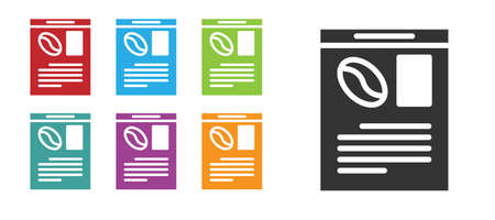 Black Newspaper and coffee icon isolated on white background. Mass media symbol. Set icons colorful. Vector Illustration