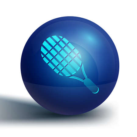 Blue Tennis racket icon isolated on white background. Sport equipment. Blue circle button. Vector Illustration Illustration