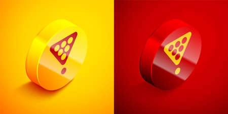 Isometric Billiard balls in a rack triangle icon isolated on orange and red background. Circle button. Vector Illustration
