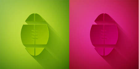 Paper cut Rugby ball icon isolated on green and pink background. Paper art style. Vector Illustration