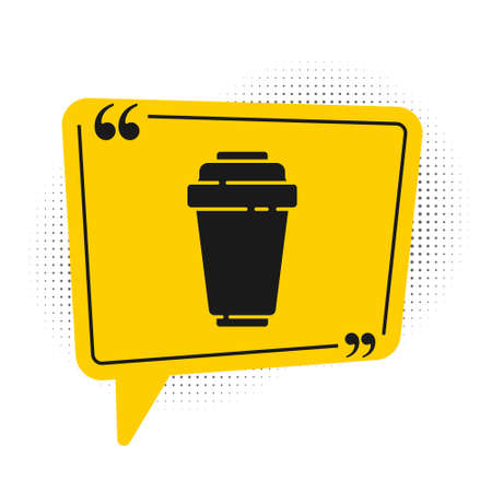 Black Water filter cartridge icon isolated on white background. Yellow speech bubble symbol. Vector Illustration