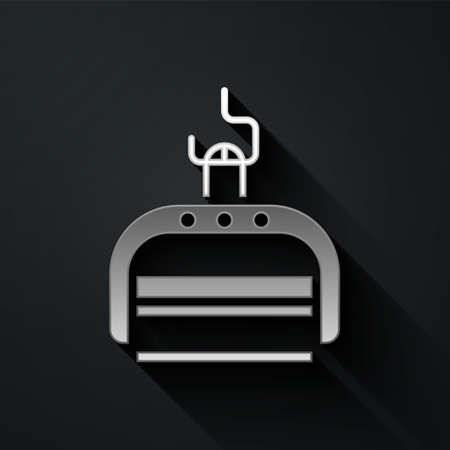 Silver Ski lift icon isolated on black background. Long shadow style. Vector Illustration Stock Illustratie