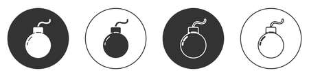 Black Bomb ready to explode icon isolated on white background. Circle button. Vector Illustration Ilustracja