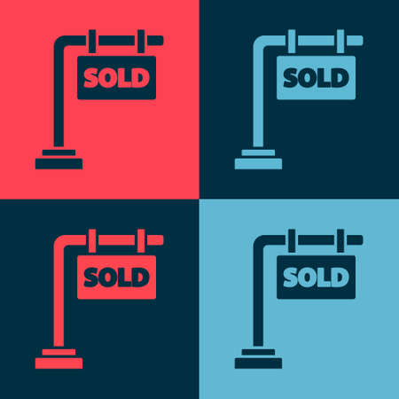 Pop art Hanging sign with text Sold icon isolated on color background. Sold sticker. Sold signboard. Vector Illustration Vector Illustration