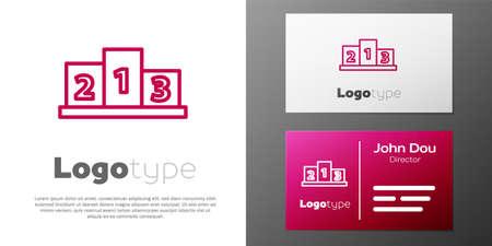 Logotype line Award over sports winner podium icon isolated on white background. Logo design template element. Vector Illustration