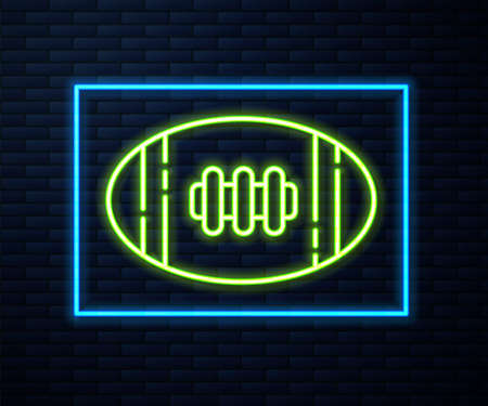 Glowing neon line American Football ball icon isolated on brick wall background. Rugby ball icon. Team sport game symbol. Vector Illustration