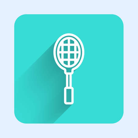White line Tennis racket icon isolated with long shadow. Sport equipment. Green square button. Vector Illustration